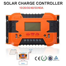 12V/24V 10-60A PWM Solar Panel Charge Controller Battery LCD Display Backlight