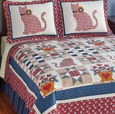 Country Kitty Patchwork Quilt Bedding Set Shams Full Queen King Reversible Flowe