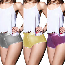 Sexy Women Metallic Wetlook Hot Pants Shorts Shiny Hipster Booty Dance Clubwear