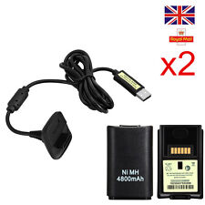 XBOX 360 PLAY AND CHARGE KIT 4800mAH RECHARGEABLE BATTERY PACK & CABLE LEAD