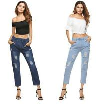 Women Ripped Worn Washed Elastic Waist Pockets Denim Jeans Trousers Pants
