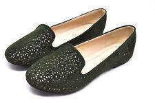 RESTRICTED Green/Silver Ballet Flats Loafers Shoes (4096)