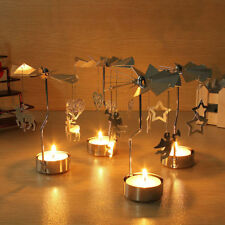 New Spinning Rotary Metal Carousel Tea Light Candle Holder Stand Light Xmas Gift