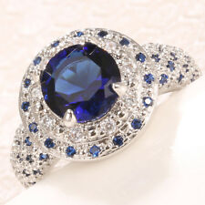 Women  Natural 925 Silver 1.5CT Tanzanite Wedding Engagement Ring Size 6-10