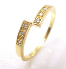 Women 14K Yellow Gold Plated Clear Round CZ Cubic Ziurconia Ring Size 8 P O N