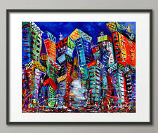 Lg. Canvas and Fine Art Prints Contemporary Cityscape Painting Modern Abstract