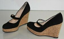 NEW Christian Louboutin Cork Wedge Black Suede Mary Jane Platform Shoes Heels 40