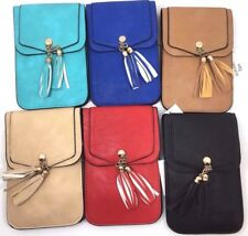 CELL PHONE CROSS BODY TASSEL BAGS 6 COLORS CLEAR BACK CARRIER CASE 2 POCKETS NEW