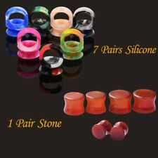 8pairs stone ear plugs and Slicone tunnel ear expander helix ear piercing gauges