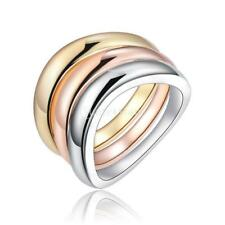 Magideal Fashion Multicolor Metal Finger Rings Triple Color Band Ring Wedding