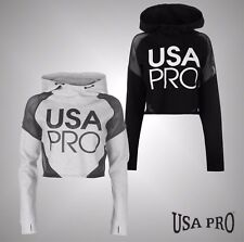 New Ladies Branded USA Pro Lightweight Jersey Cropped Mesh Hoodie Top Size 8-16