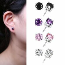 New Clear Round CZ Crystal Stud Earrings Fashion Jewelry Women Lady Party Gift
