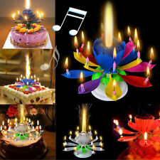 Fashion Lotus Flower Festival Birthday Cake Decorative Music Candles KECP 01