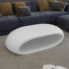 High Gloss Coffee Table Side Table Fiber Glass Hollow Black/White Home Furniture