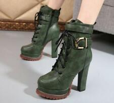 Womens gOTHIC Buckle Knight Motorcycle Platform High heels Pumps Ankle Boots Sz