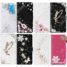 Litchi Pattern Leather Cover Bling Diamond Wallet Case Shell For Various Phone