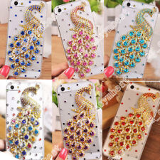 3D Bling Crystal Diamond Peacock Back Cover Case Soft Pink Edge Phone Shell