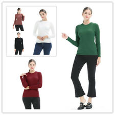 Women Solid Rib-Knit Crew Neck Long Sleeve Stretchy Slim Fit Sweater Undershirt