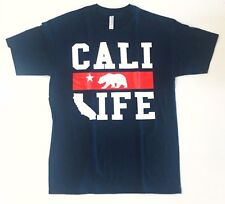New Cali Life Tee T-shirt Graphic Design Men's California Daily Navy color rare