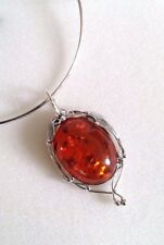 Sterling Silver Vintage Chunky Statement Amber Pendant Necklace Gift For Mum