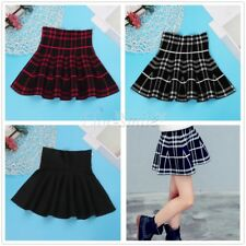 Girls Kids Student High-waisted Knitted Flared Pleated Skater Casual Mini Skirt
