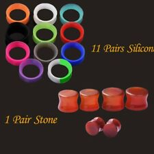 12Pair Ear Plugs Piercing Silicone Flexible Tunnel Hollow Ear Gauges - Stone