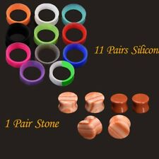 12pair Silicone Flesh Tunnels Ear Plugs Stone Ear Gauges Hollow Ear Expander