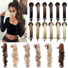 Mega Thick Claw On Ponytail Clip In Hair Extensions Long Straight Curly Wavy FH9