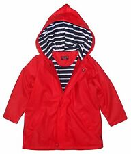 Captain Corsaire Childrens Nautical Raincoat - Red - Stripy Lining