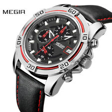MEGIR Mens Quartz Watch Luxury Chronograph Leather Strap Wristwatch Waterproof