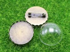 DIY Bronze Round Brooch with 20mm 25mm Clear Glass Dome Terrarium 1/2 Globe