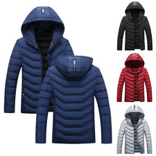 Men Winter Warm Cotton Padded Down Coat Thick Casual Hoodie Outwear Parka Jacket