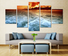 Sunset Beach Sea Wave Seascape 5 Piece Canvas Wall Art Painting Print Home Decor