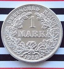 GERMAN EMPIRE 1 MARK 1912 F 90% Silver Reich WWI NICE Old Coin History +UNC+ RAR