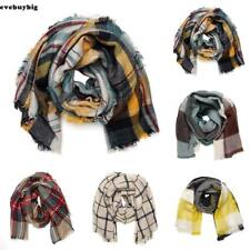 Lady Oversized Plaid Triangle Blanket Scarf Checked Wrap Wool Shawl Winter Warm