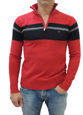 NEW Tommy Hilfiger Men's Half-Zip Pullover Knitted Cotton Sweater Red/Black