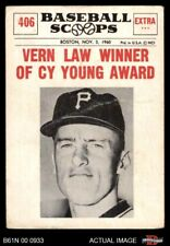 1961 Nu-Card Scoops #406  Vern Law  - Vern Law Winner of Cy Young A Pirates GOOD