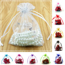50/100pcs Butterfly Bag Wedding Party Candy Organza Drawstring Favor Bag Pouch