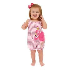 Mud Pie E7 Flamingo Baby Girl One-Piece Pink Striped Bubble Romper 1132309