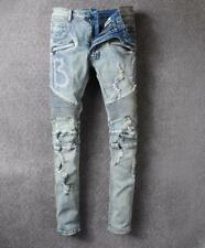 New Womens Slim Denim Hole Fold Zipper Pants Washed Trousers Personality Jeans
