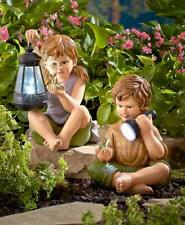 CHARMING KIDS BOY AND/OR GIRL SOLAR LIGHTED GARDEN STATUE LAWN SCULPTURE DECOR