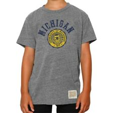 Michigan Wolverines Youth NCAA Arch And Logo Distressed T-Shirt - Gray