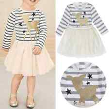 Kids Baby Girls Long Sleeve Striped Tutu Dress Fashion Party Fawn Clothes 12M-6