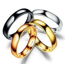 4mm Wide Fashion Stainless Steel Polished Ring Men Women Engagement Size 5-13