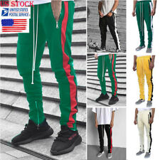 Men Stretch Slim Zipper Long Pants Trouser Lace-Up Leggings Sweatpants Tracksuit