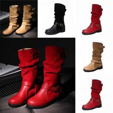 Women Casual Faux Leather Buckle Mid-Calf Knee High Slouch Boots Flat Shoes Size