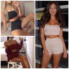 2PCS Women Casual Bodycon Sleeveless Crop Top Blouse Club Shorts Pants Set E7O9