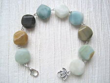 AMAZONITE CHUNKY COIN Unusual Beaded Bracelet LOTUS CHARM Link Healing XMAS GIFT