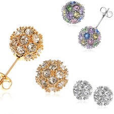 New Jewelry 18k Gold Plated Rhinestone Alloy Ball Stud Austrian Crystal Earring