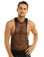 Men's Mesh Hoodie See-through Fishnet Tank Top GYM Muscle Vest Tee Undershirt
